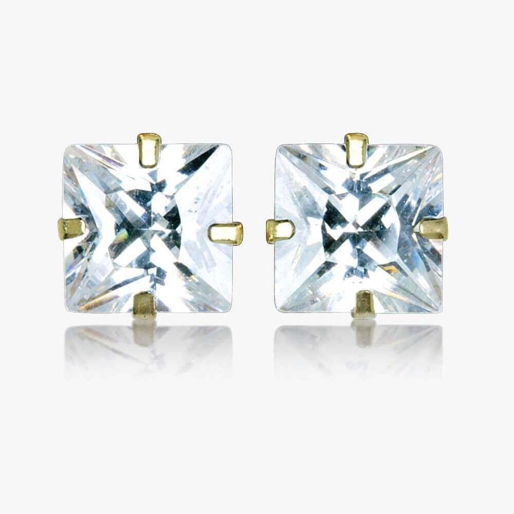 Arezzo 9ct Gold Princess Cut DiamonFlash<sup>&reg;</sup> Cubic Zirconia Stud Earrings