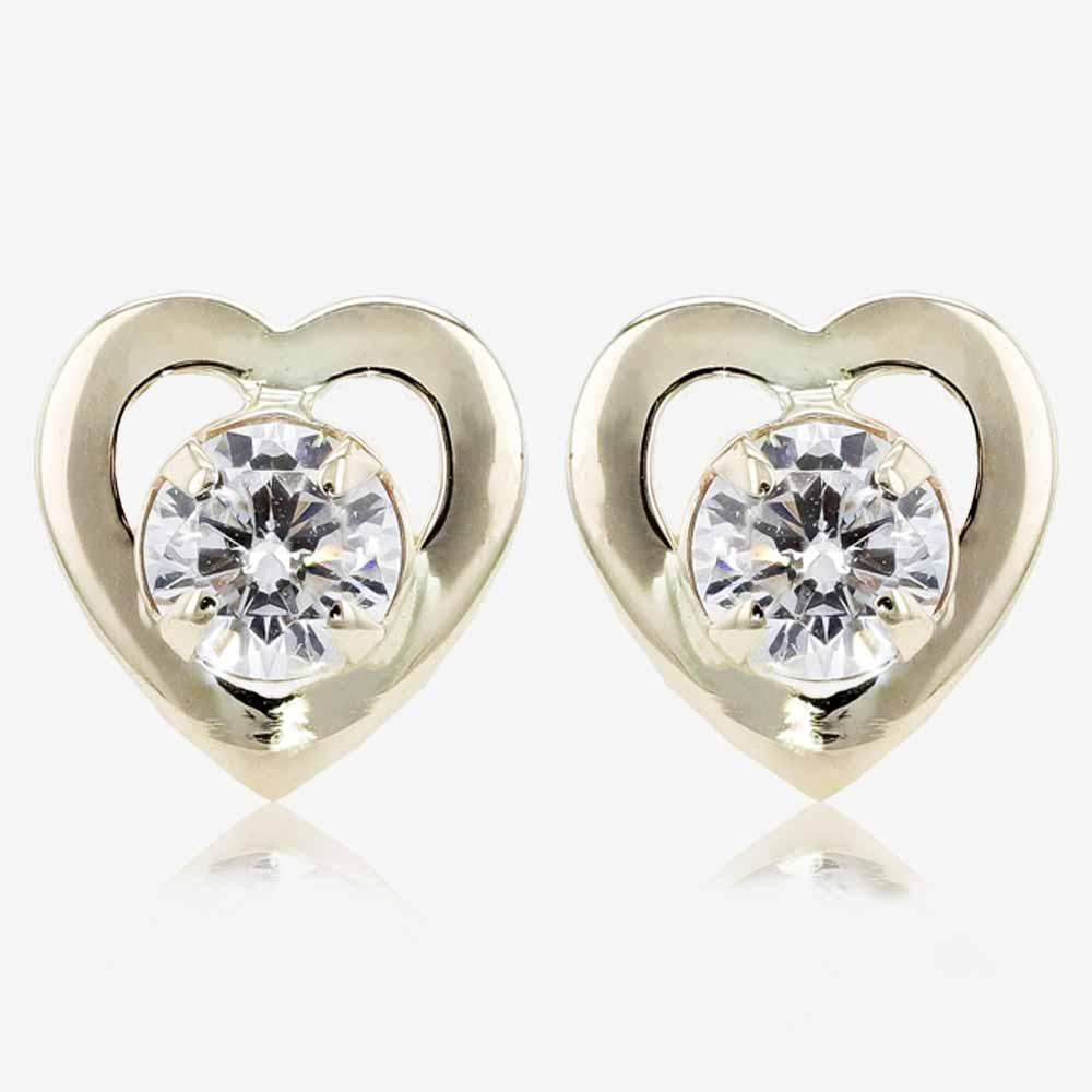 9ct Gold CZ Heart Stud Earrings