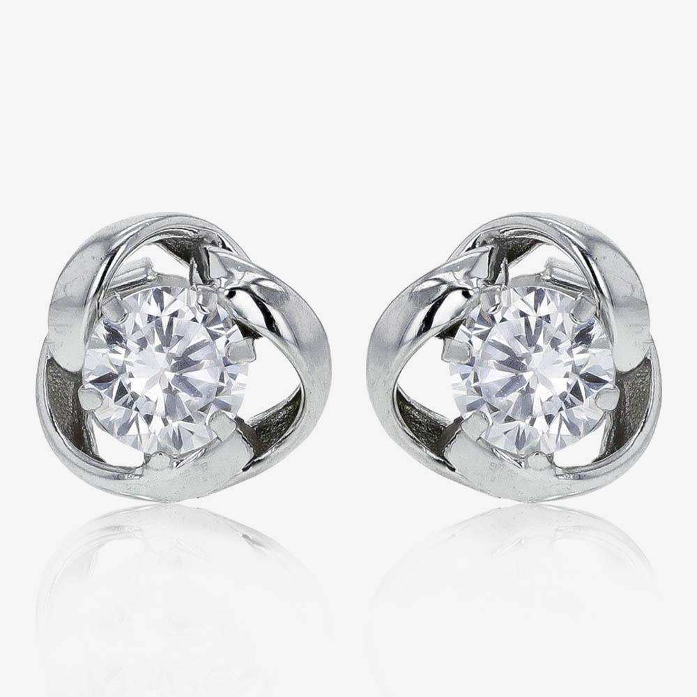 9ct White Gold DiamonFlash<sup>&reg;</sup> Knot Stud Earrings