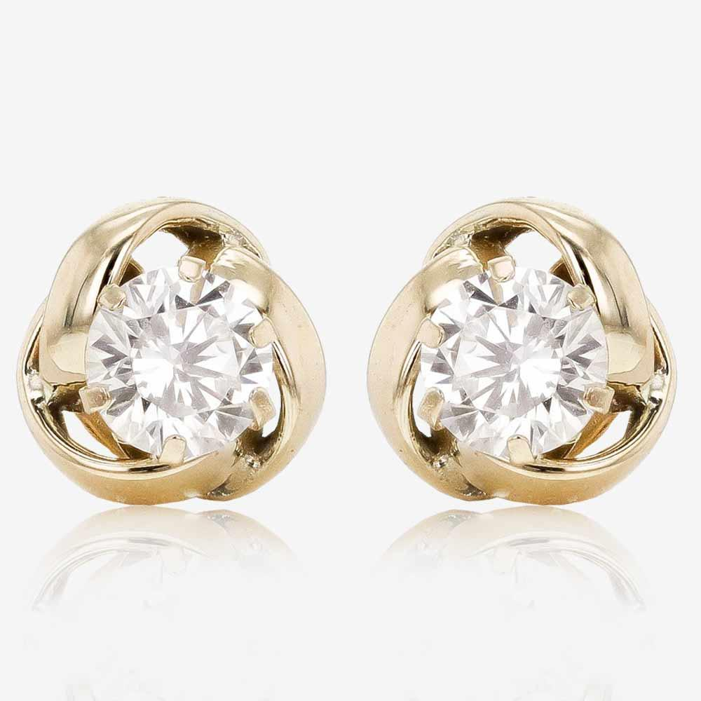 9ct Gold CZ Knot Stud Earrings