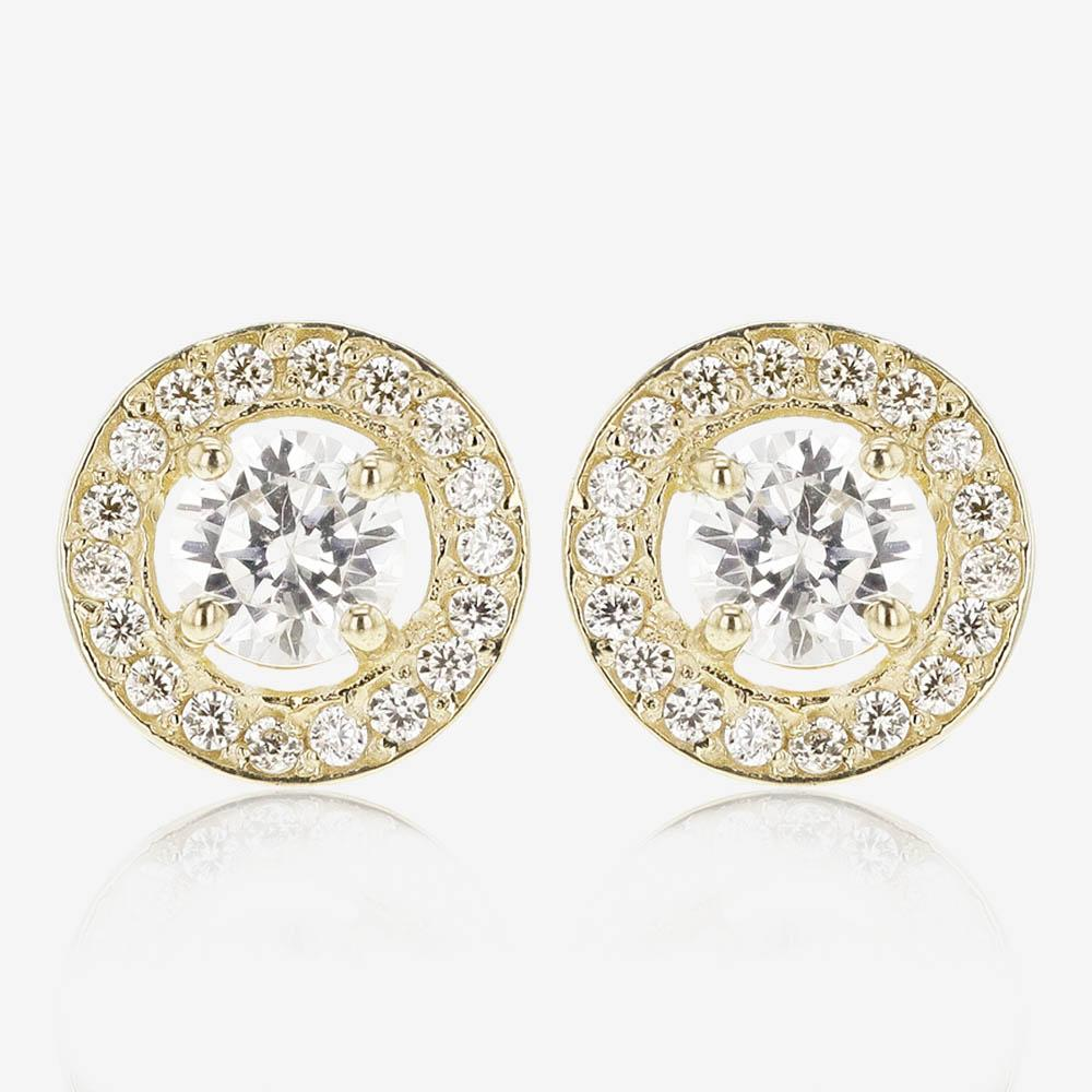 9ct Gold DiamonFlash<sup>&reg;</sup> Cubic Zirconia Halo Earrings