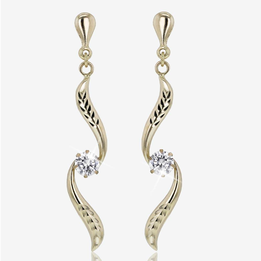 9ct Gold Diamond Cut CZ Swirl Drop Earrings