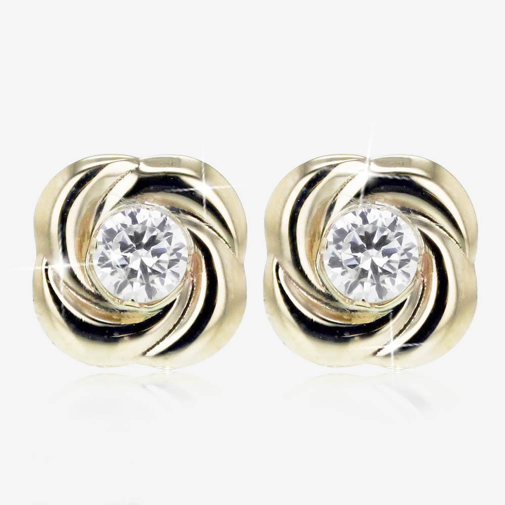 9ct Gold Swirl Stud Earrings