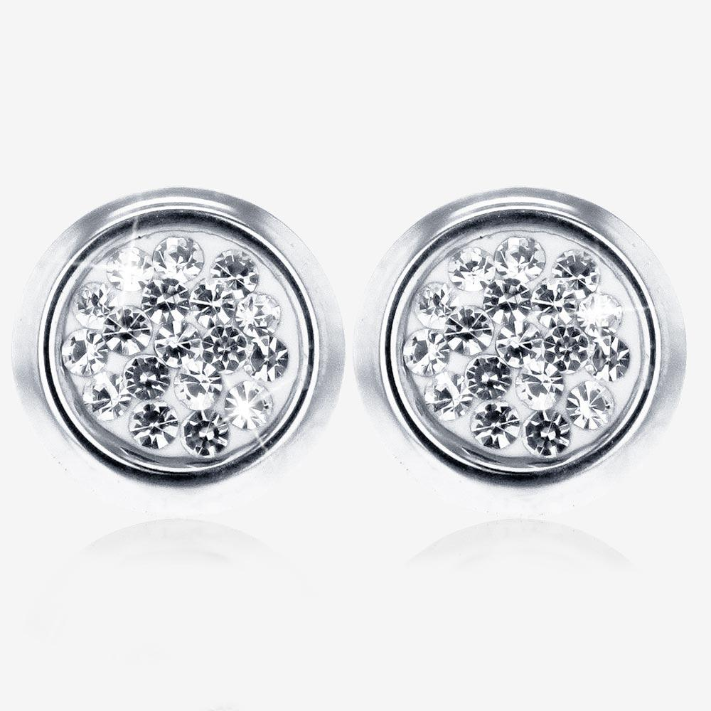 9ct White Gold Crystal Stud Earrings