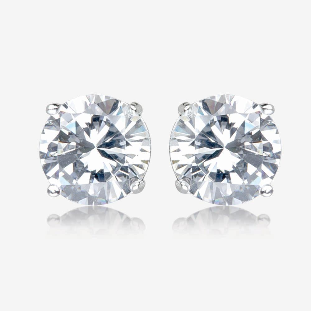 Anna Sterling Silver DiamonFlash<sup>&reg;</sup> Cubic Zirconia Stud Earrings