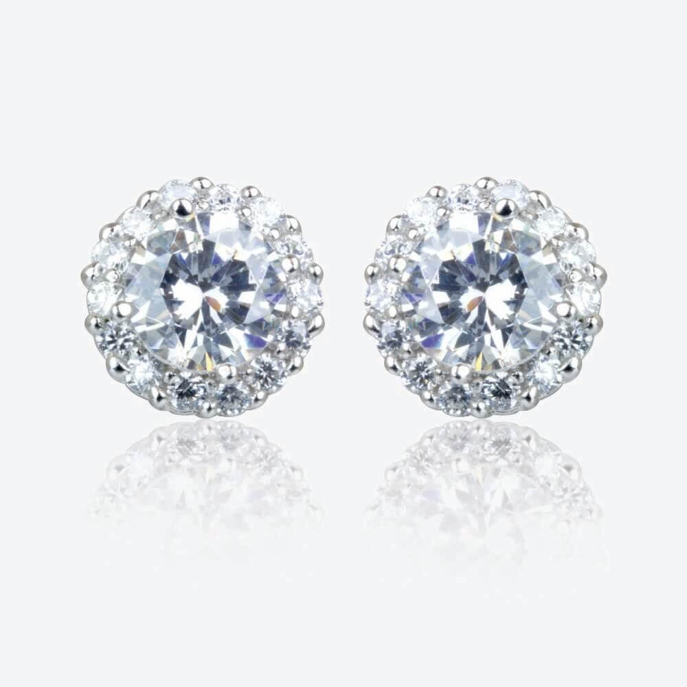 Diana Sterling Silver DiamonFlash<sup>®</sup> Cubic Zirconia Cluster Stud Earrings