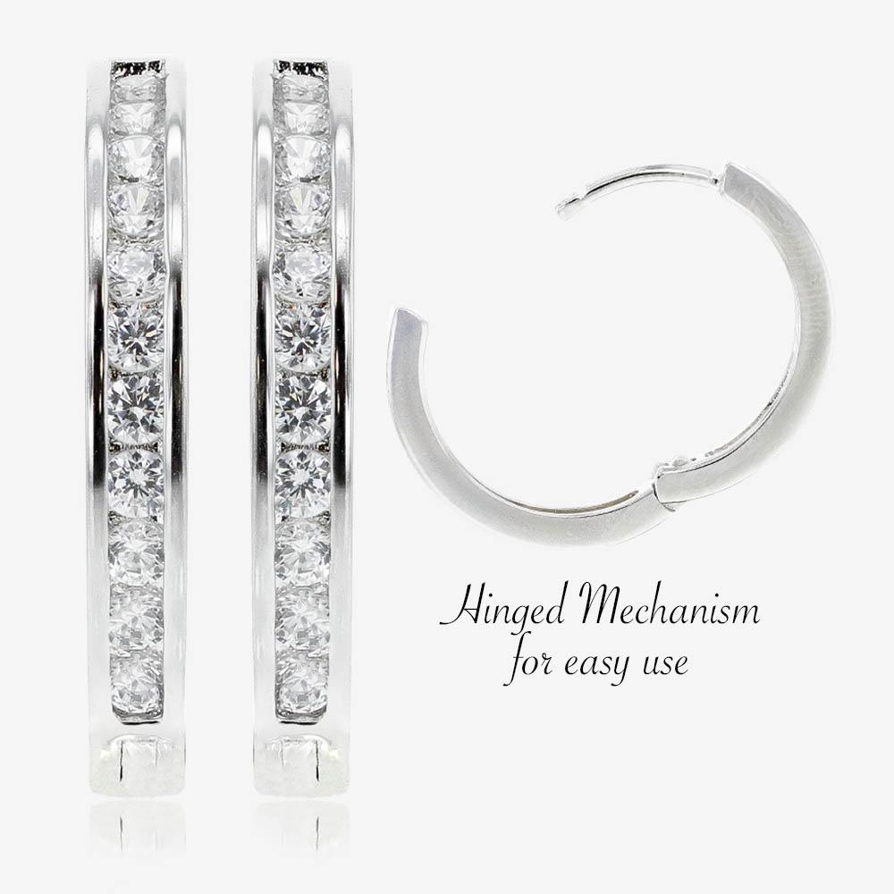 Silver Channel Set Huggie Earrings