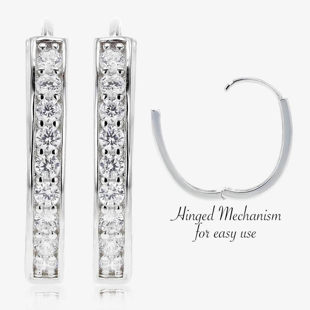 Alana Sterling Silver DiamonFlash<sup>®</sup> Cubic Zirconia Oval Huggie Earrings