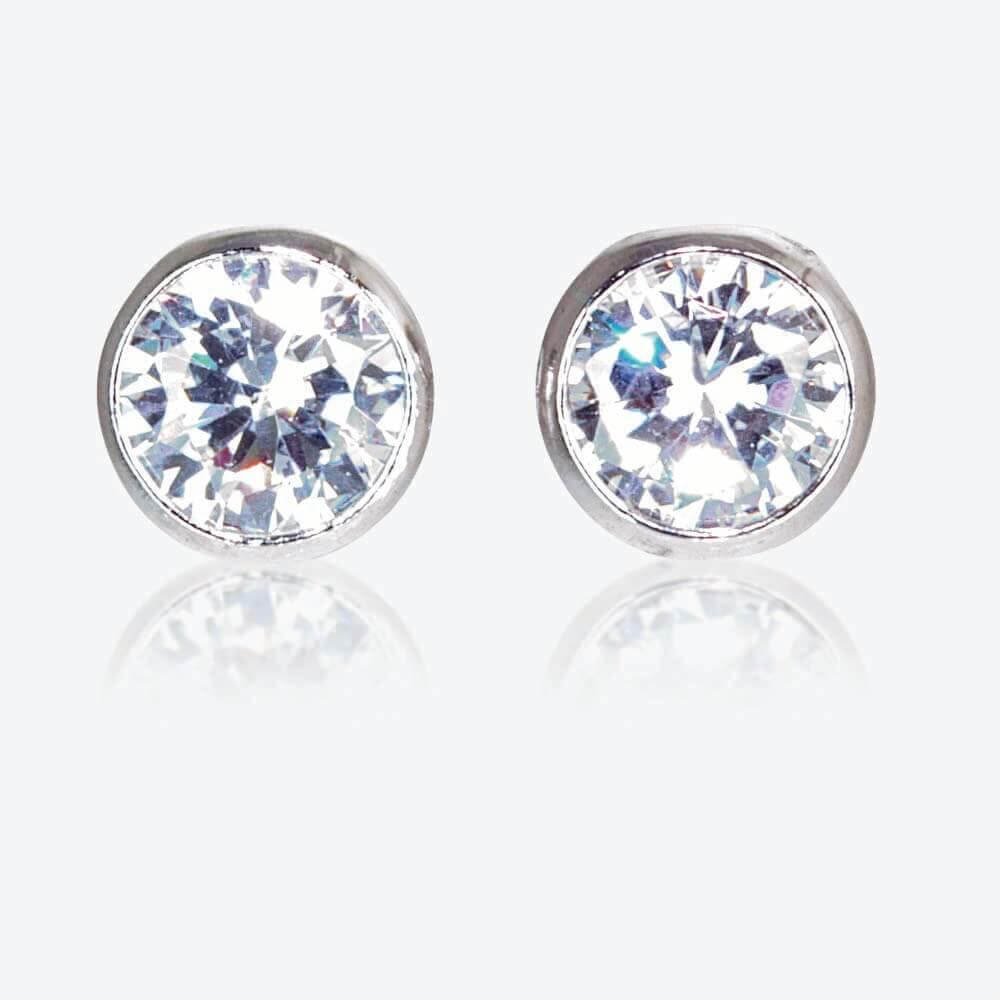 The Roweena Sterling Silver DiamonFlash<sup>&reg;</sup> Cubic Zirconia Stud Earrings