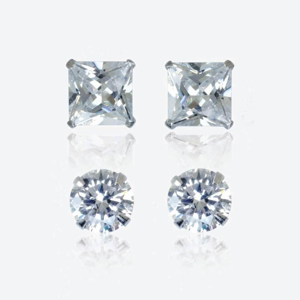 Silver Cubic Zirconia Earrings Set of 2 Pairs