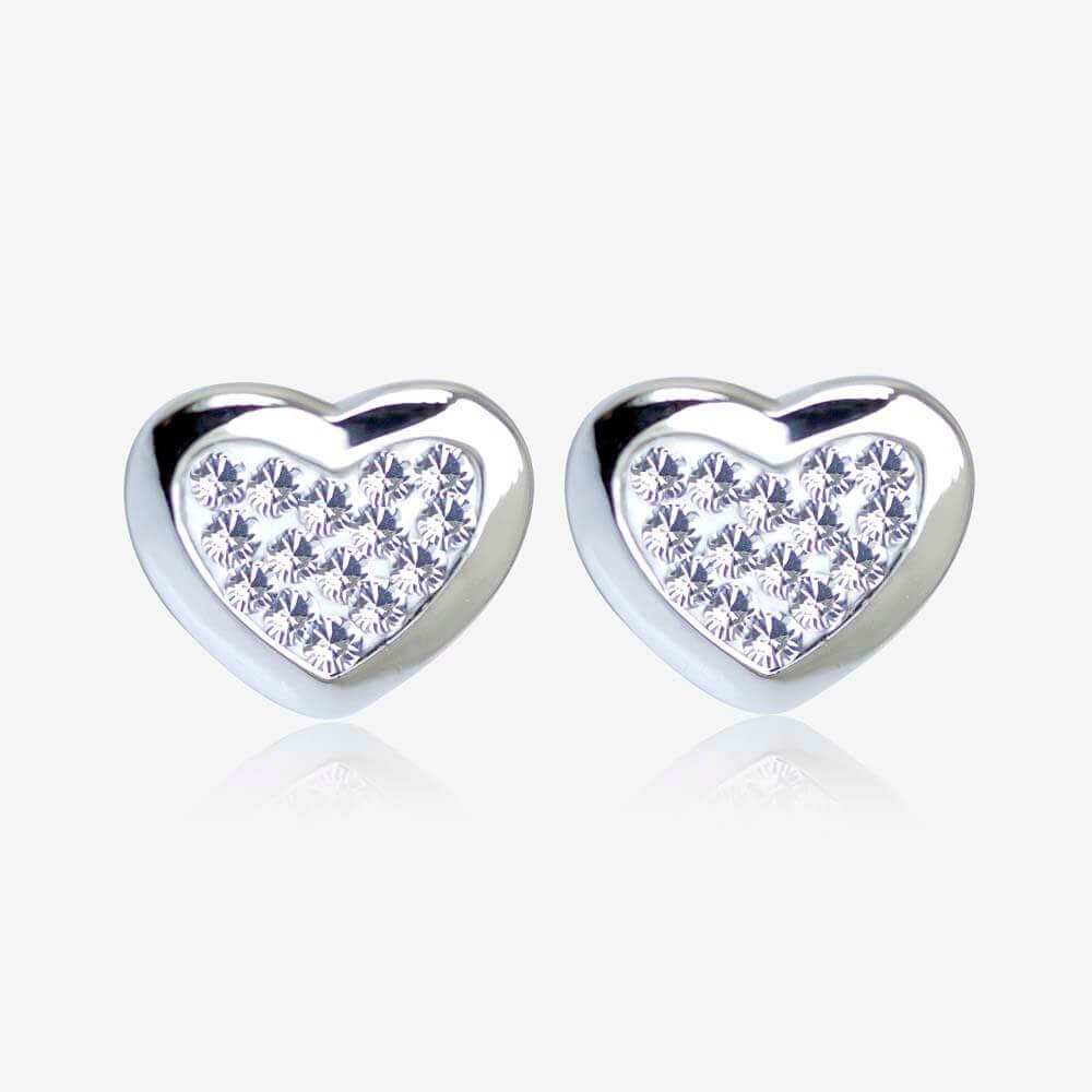 Silver Swarovski® Crystals Heart Earrings