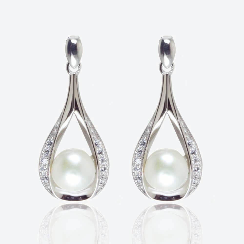 silver freshwater carbonneau i earrings elegance vintage by cz pearl
