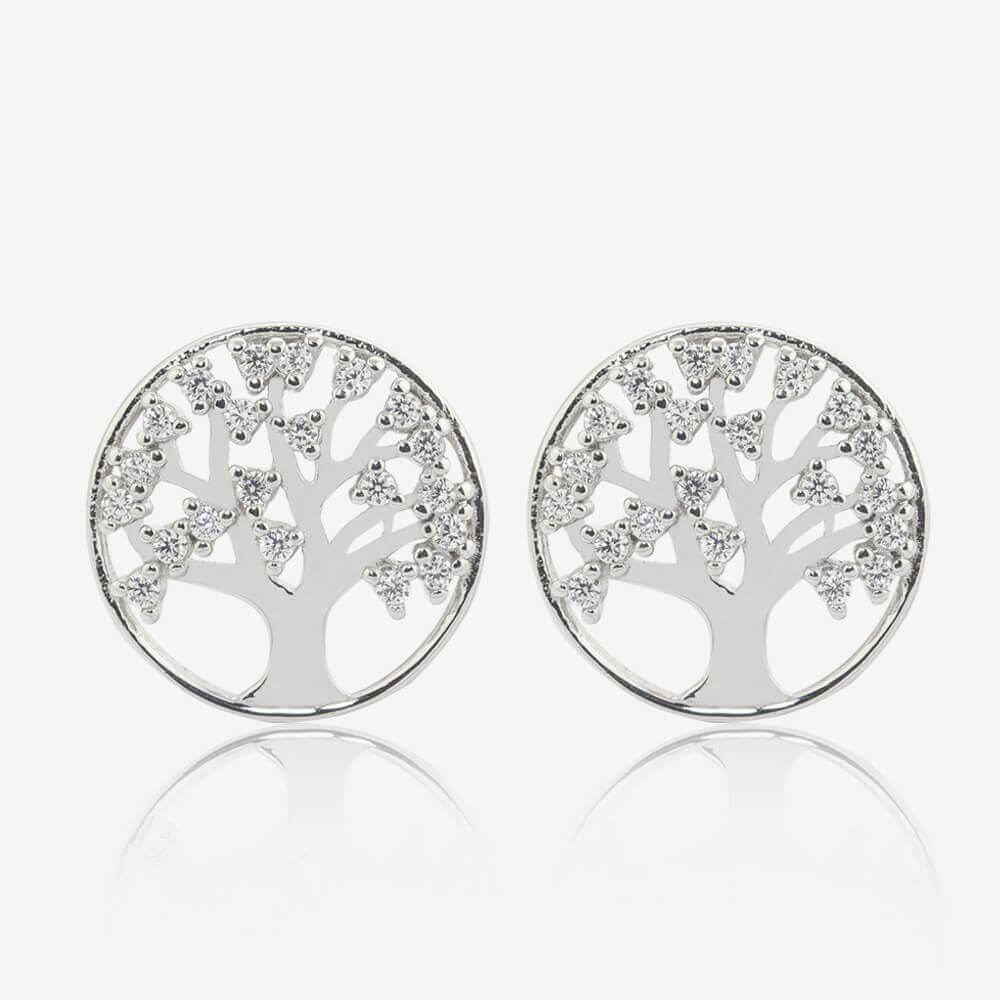 Sterling Silver Life's Tree Stud Earrings