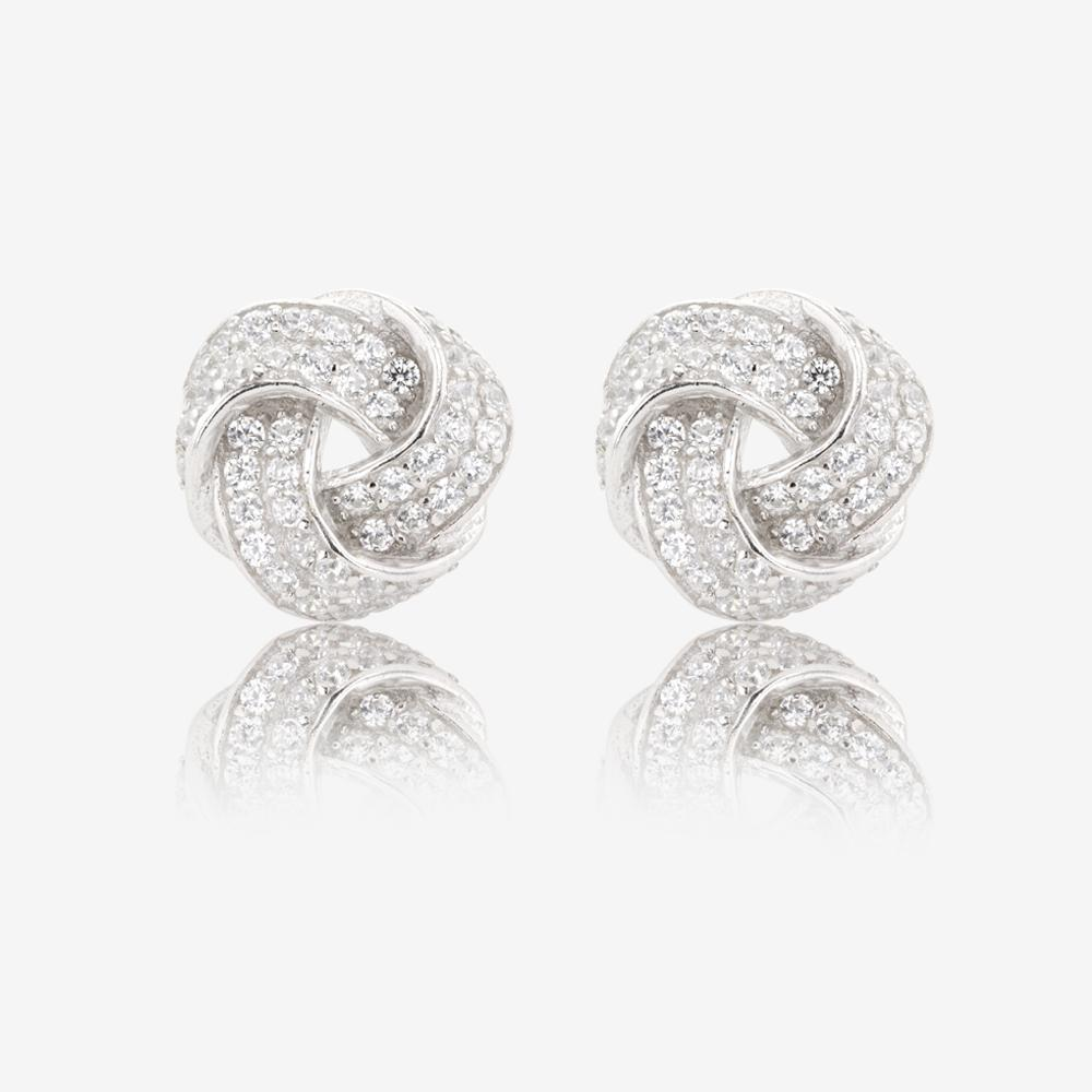 Sterling Silver DiamonFlash® Cubic Zirconia Knot Earrings