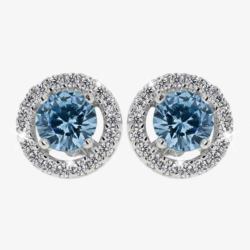 The Amelia Sterling Silver Aqua Coloured DiamonFlash® Cubic Zirconia Stud Earrings