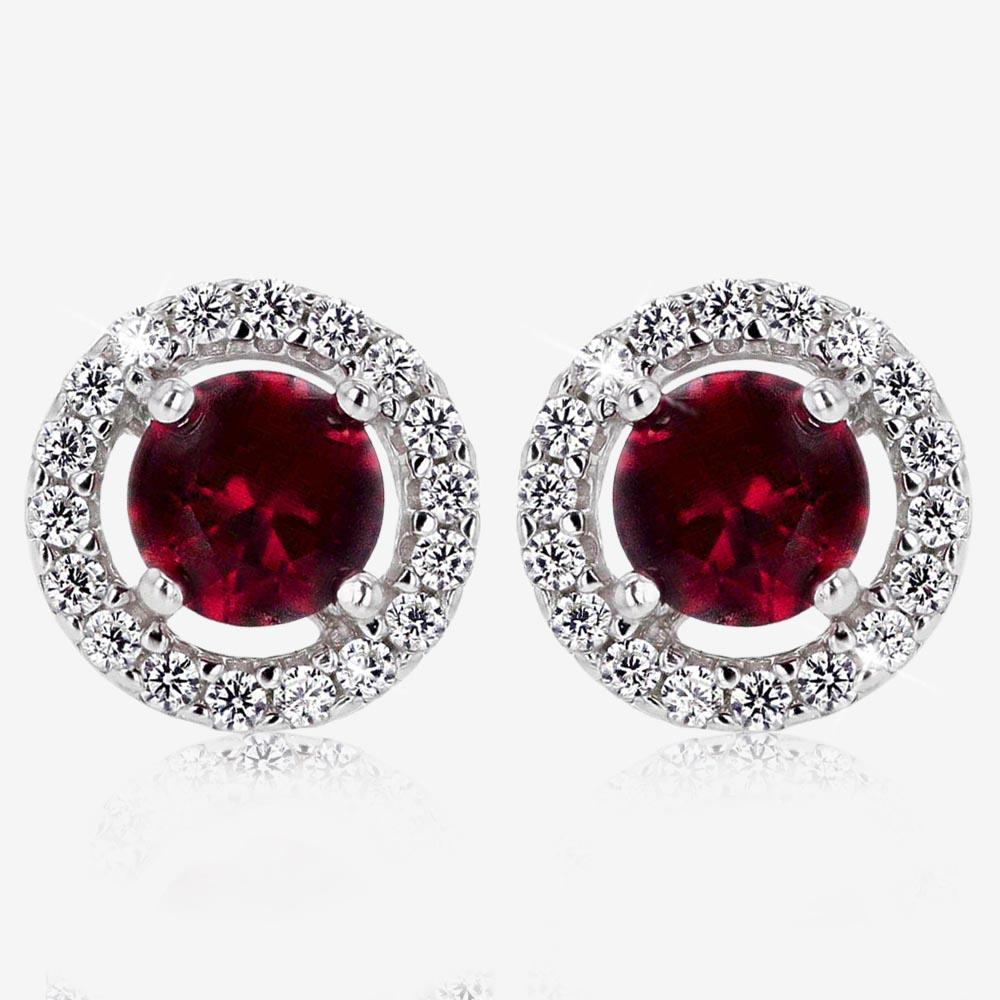 The Amelia Sterling Silver Ruby Coloured DiamonFlash® Cubic Zirconia Stud Earrings