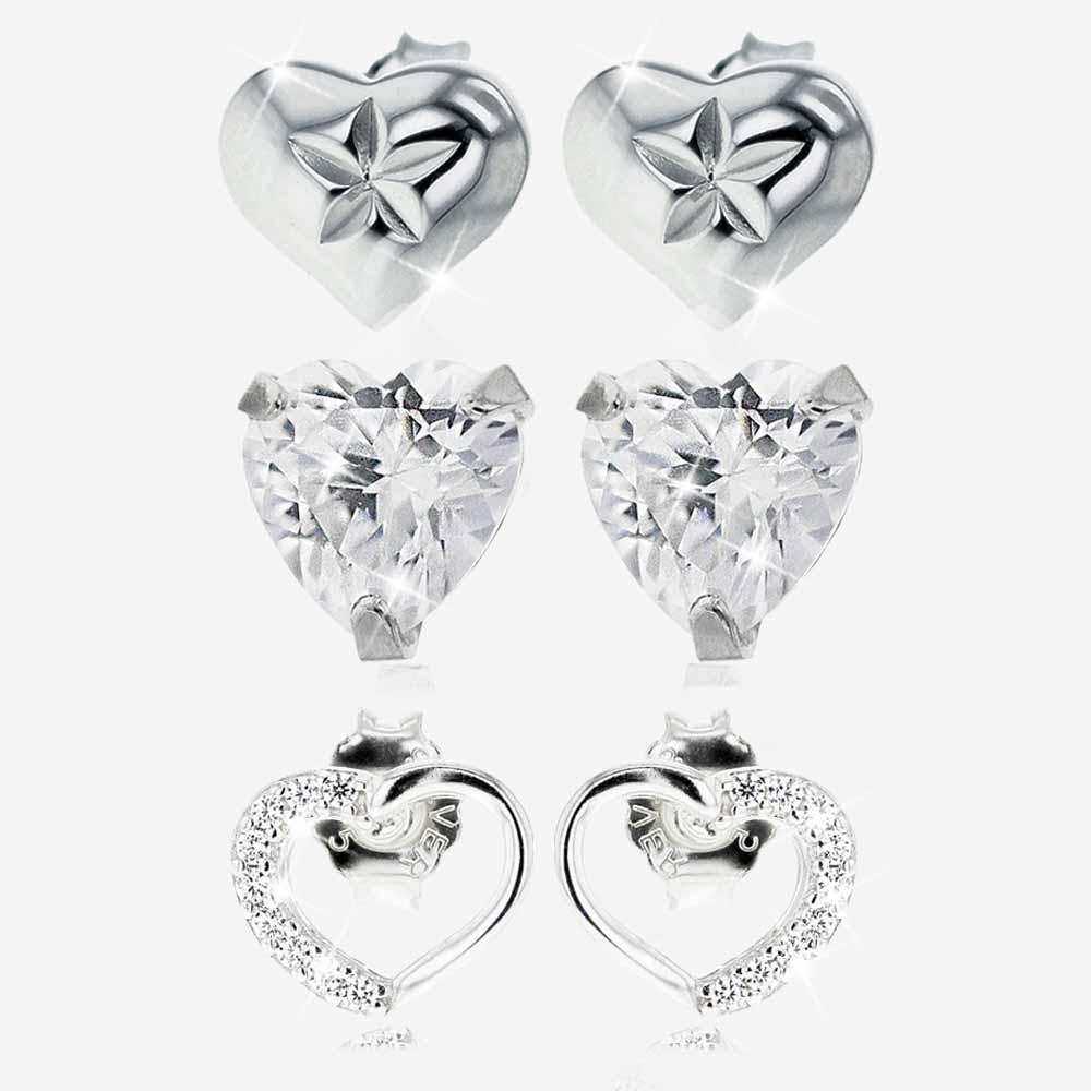 Silver Heart Earrings Set of 3 Pairs