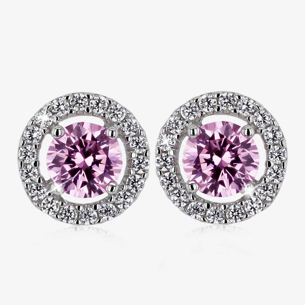 The Amelia Sterling Silver Pink Coloured DiamonFlash® Stud Earrings