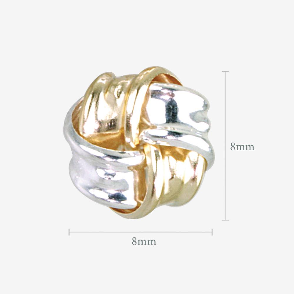 Lois 9ct Gold & Silver Knot Stud Earrings