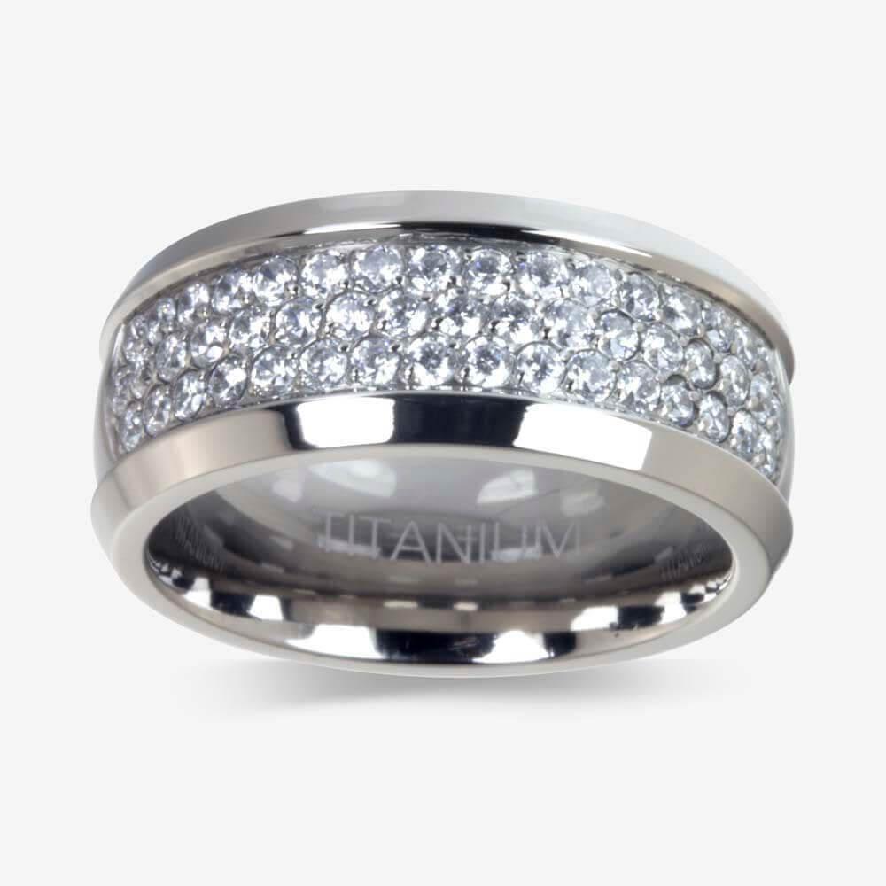 men 39 s titanium diamonflash cubic zirconia ring. Black Bedroom Furniture Sets. Home Design Ideas