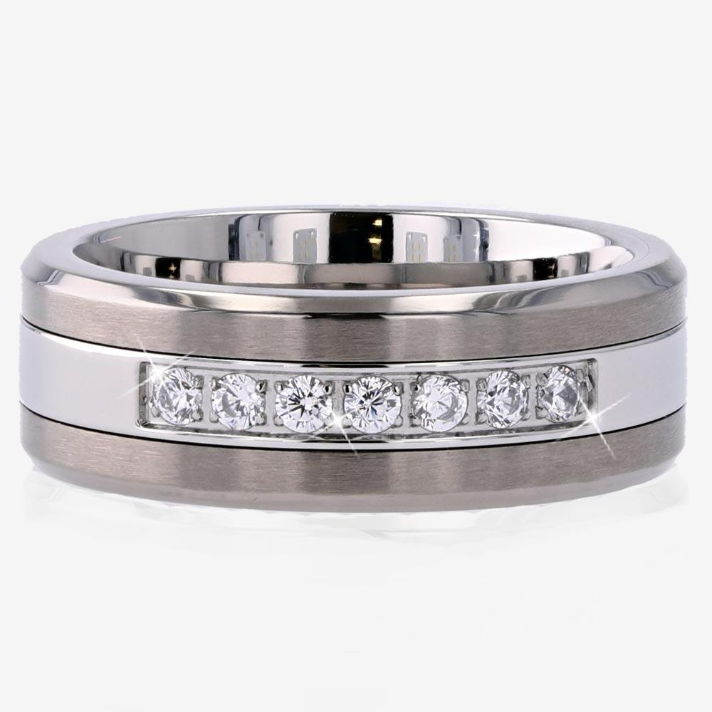 Men's Titanium And Steel Band Ring