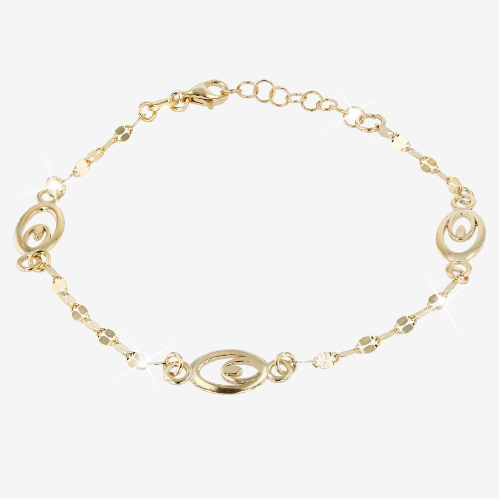 18ct Gold Vermeil on Silver Eliptical Bracelet