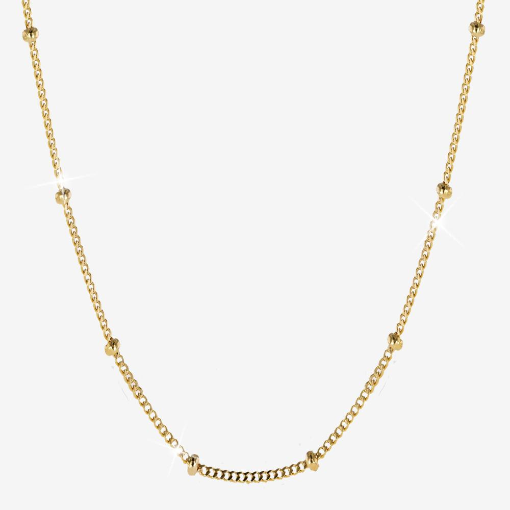18ct Gold Vermeil On Silver Curb And Bead Chain