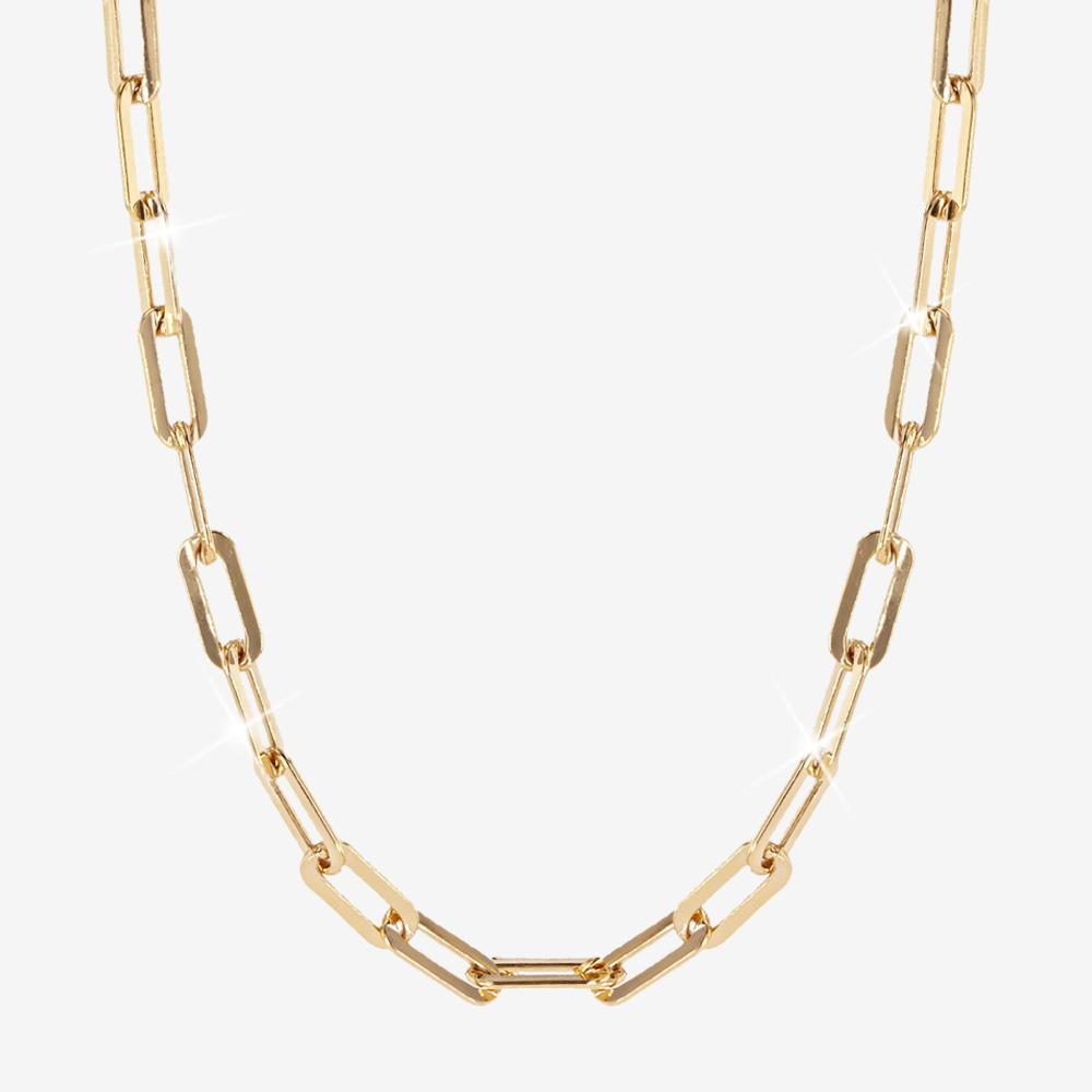 18ct Gold Vermeil on Silver Paper Clip Chain Necklace - Large