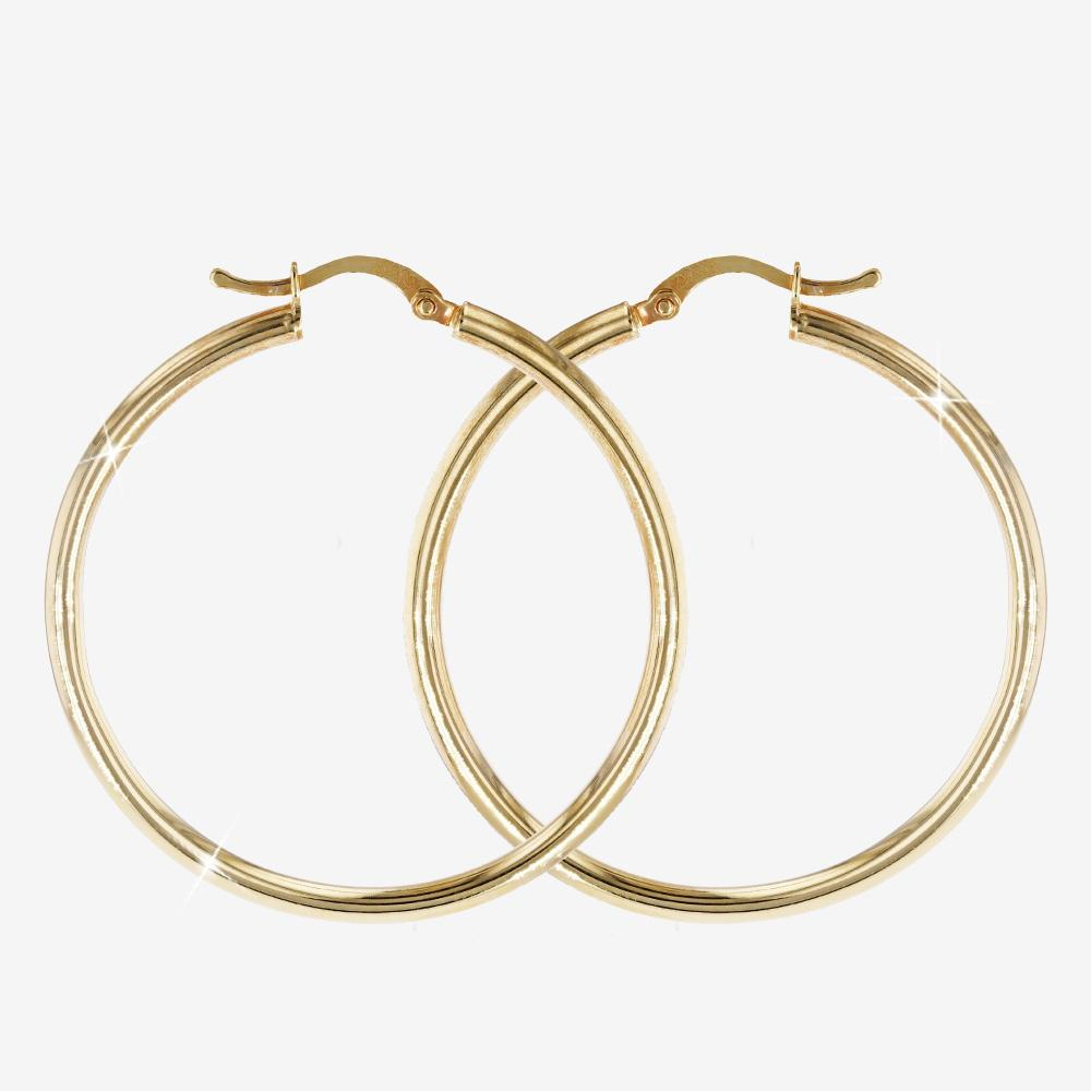 18ct Gold Vermeil on Silver Hoop Earrings, Polished