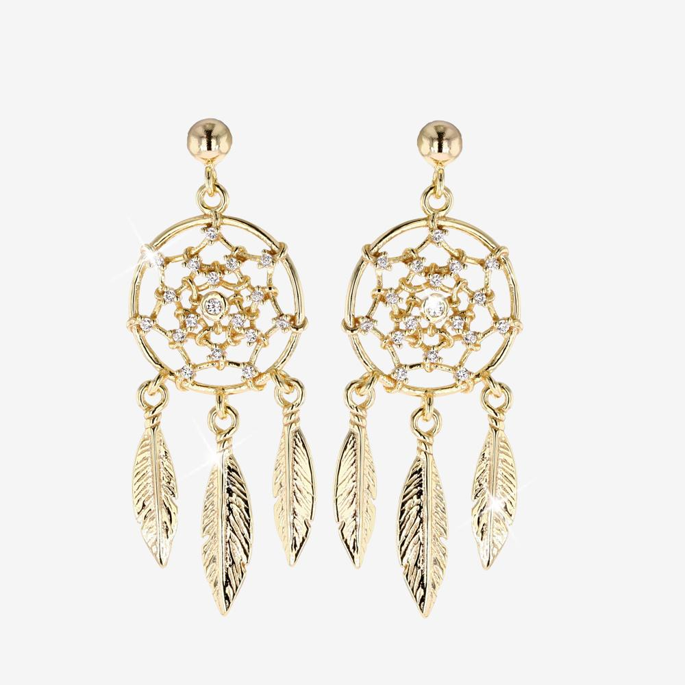 18ct Gold Vermeil on Silver Dreamcatcher Earrings