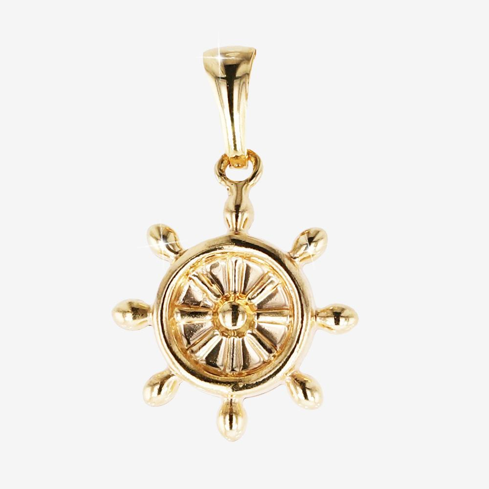 18ct Gold Vermeil on Silver Wheel Pendant Charms