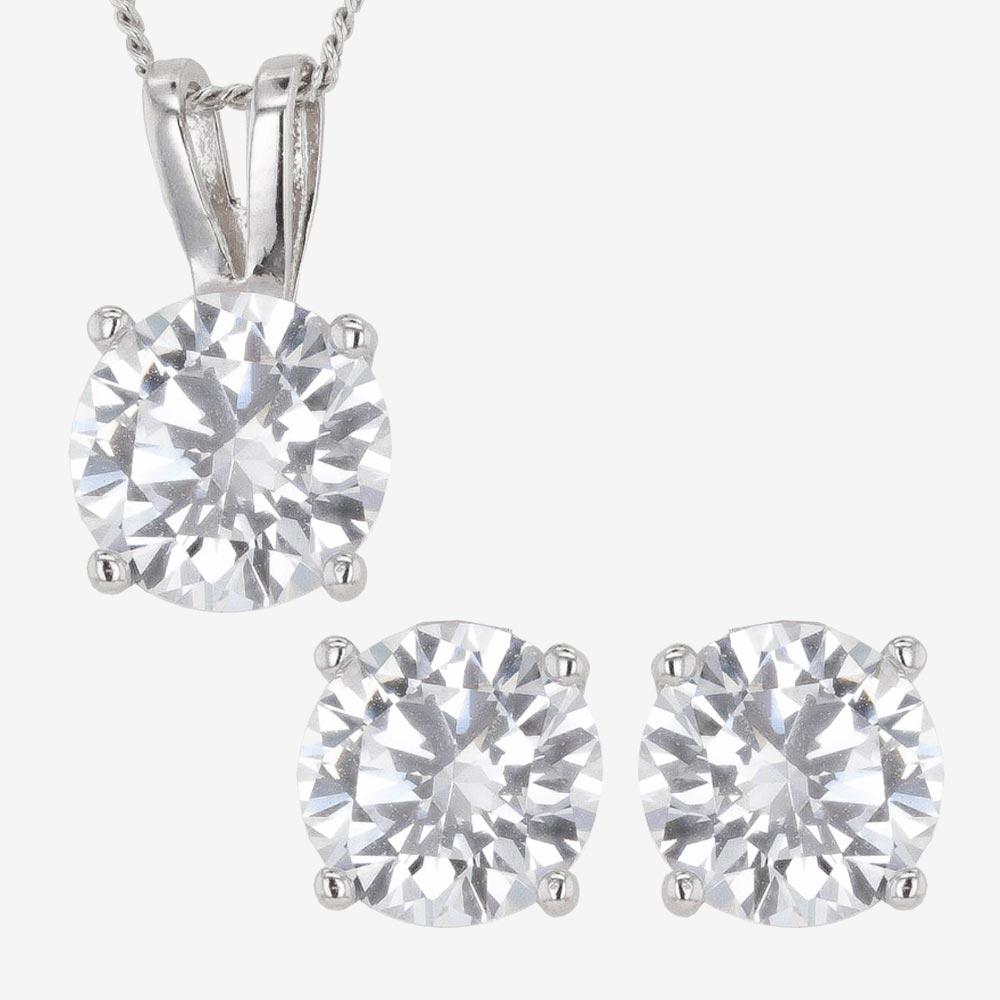 Sterling Silver DiamonFlash<sup>&reg;</sup> Cubic Zirconia Necklace & Earrings