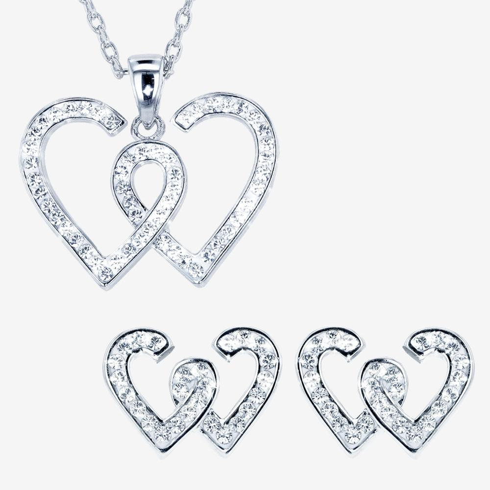 Swarovski® Crystals Entwined Heart Necklace and Earrings Set