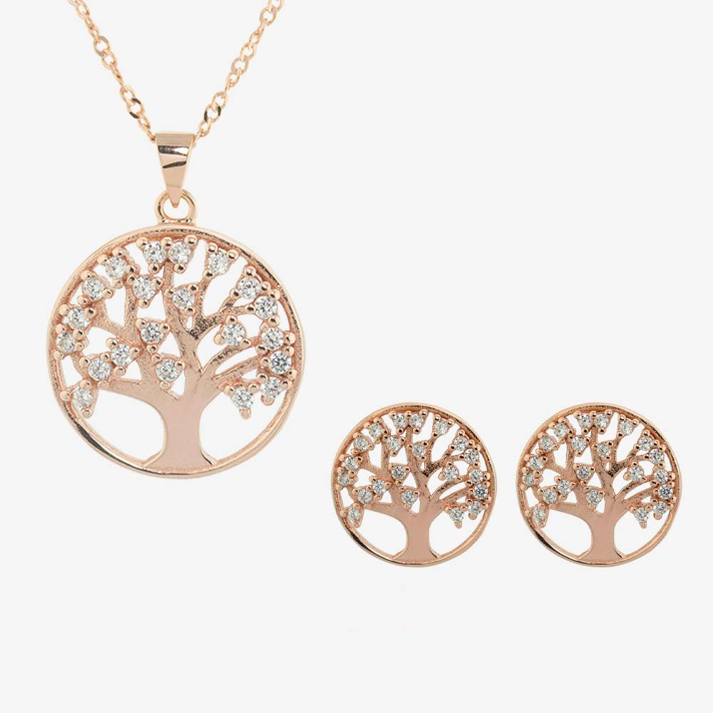 The Sterling Silver Life's Tree Collection With Rose Gold Finish