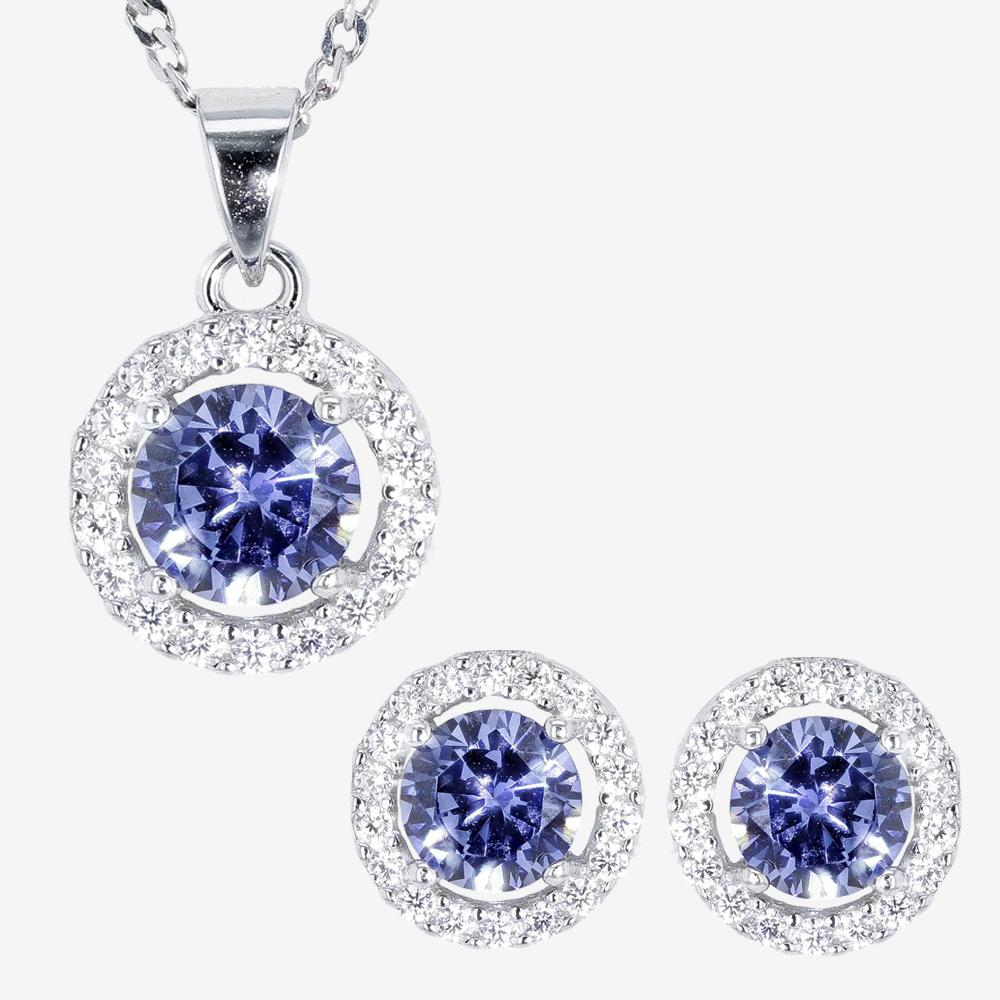 The Amelia Sterling Silver Tanzanite Coloured DiamonFlash<sup>®</sup> Cubic Zirconia Collection
