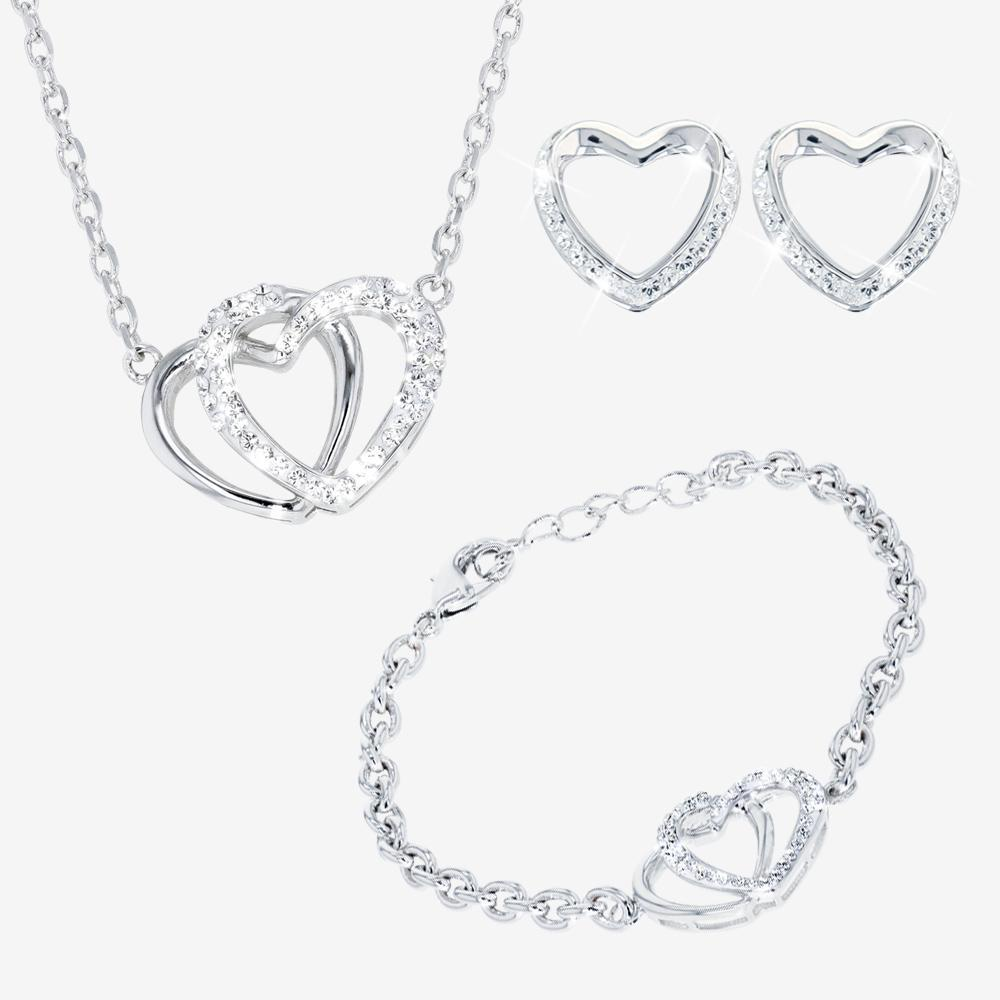 Heart Necklace, Earrings and Bracelet Set made with Swarovski® Crystals