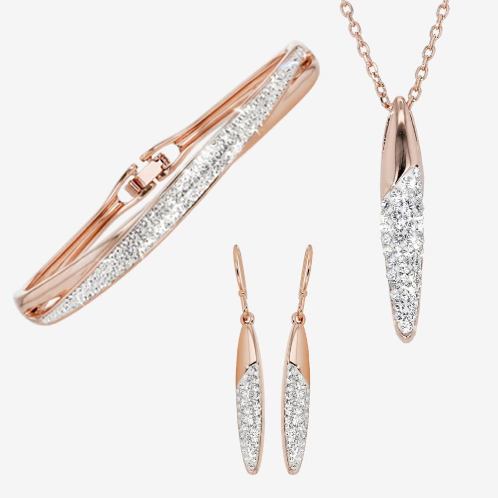 Swarovski® Crystals Rose Gold Finish Necklace, Earrings and Bangle Set