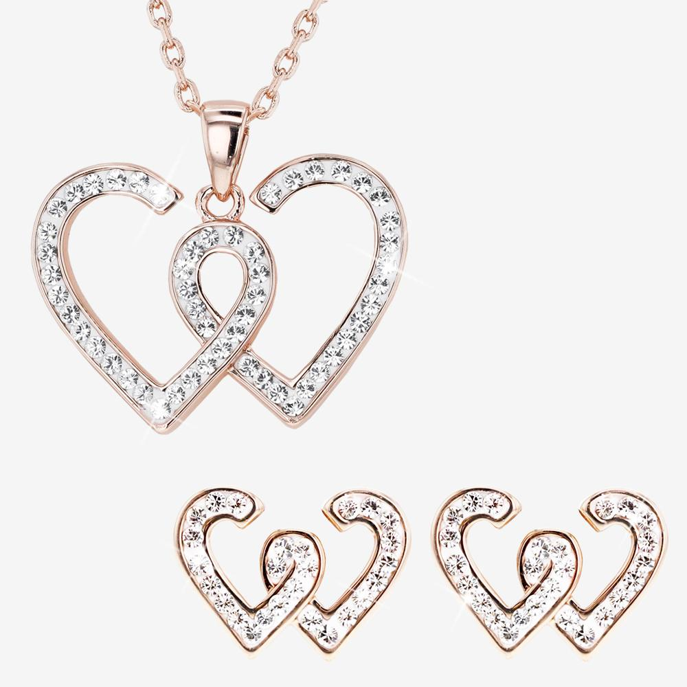 Entwined Rose Heart Collection Made With Swarovski® Crystals