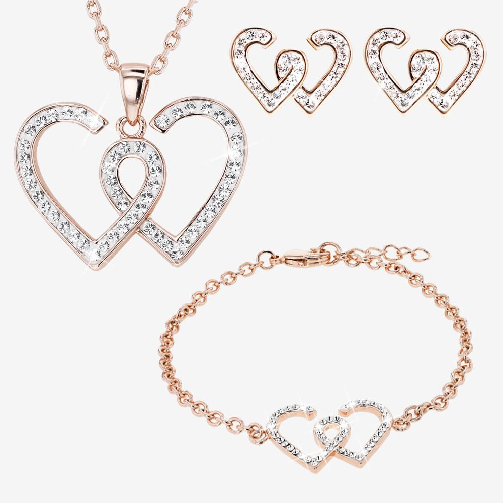 Swarovski® Crystals Rose Gold Finish Entwined Heart Necklace, Earrings and Bracelet Set