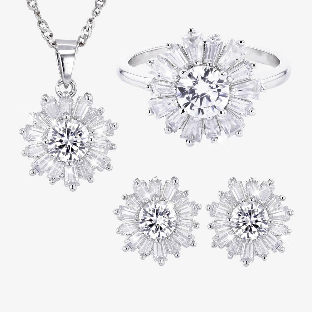 Silver and CZ Swirl Necklace, Ring and Earring set