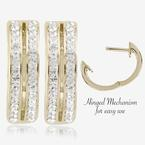 Fortuna Gold Finish Huggie Earrings Made With Swarovski<sup>&reg;</sup> Crystals