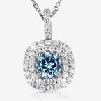Sterling Silver Aqua Coloured DiamonFlash® Cubic Zirconia Cluster Necklace