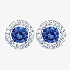 The Amelia Sterling Silver Tanzanite Coloured DiamonFlash<sup>®</sup> Cubic Zirconia Stud Earrings