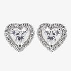 Naomi Sterling Silver Diamonflash<sup>®</sup> Cubic Zirconia Heart Earrings