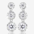 Sterling Silver DiamonFlash® Cubic Zirconia Halo Drop Earrings