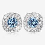 Sterling Silver Aqua Coloured DiamonFlash® Cubic Zirconia Cluster Earrings