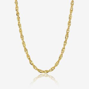 "9ct Gold 18"" Singapore Style Semi Solid Chain Necklace"