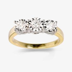 9ct Gold 3 Stone Diamond Trilogy Ring .25ct