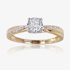 9ct Gold Round Cut Diamond Ring