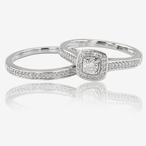 9ct White Gold Diamond Cluster Bridal 2 Ring Set